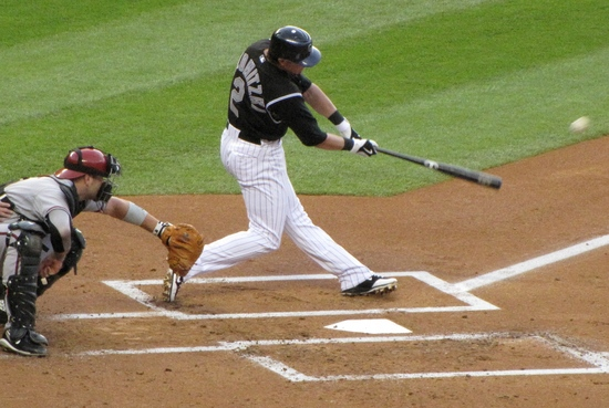 Tulo gets the first hit 4-27-10.JPG