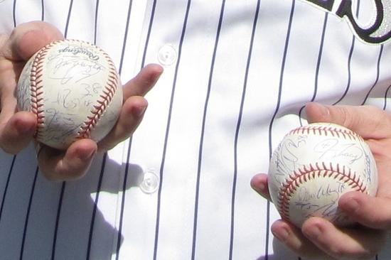 Garys autographed baseballs.jpg