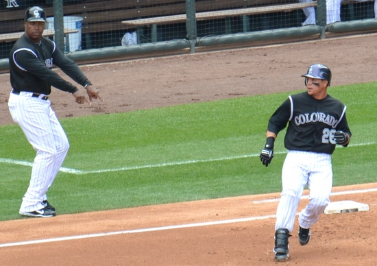 Morales stay on first 4-17-11.jpg