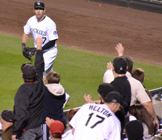 Seth smith about to toss out a foul ball 5-10-11.jpg