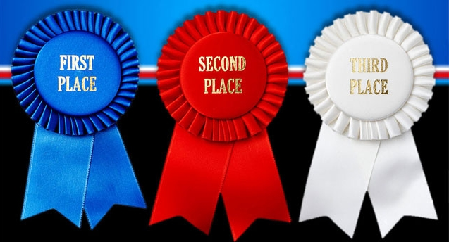 2nd place stock vector illustration royalty free 2nd place clipart - First Second And Third Place Award Ribbons Over A White